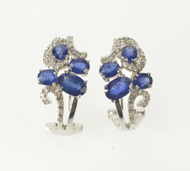 14K 1.70 Ctw Floral Sapphire Diamond French Clip White Gold Earrings