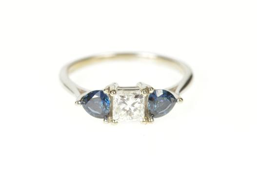 14K 1.72 Ctw Brilliant Diamond Sapphire Engagement White Gold Ring, Size 7