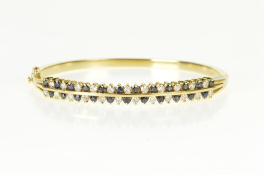 "14K 1.76 Ctw Diamond Sapphire Inset Oval Bangle Yellow Gold Bracelet 7.25"""