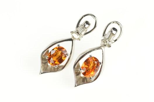 14K 1.79 Ctw Mexican Fire Opal Diamond Dangle White Gold Earrings