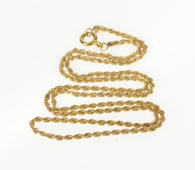 """14K 1.7mm Classic Rope Chain Rolling Link Yellow Gold Necklace 16"""""""