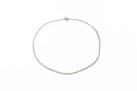 "14K 1.85 Ctw Graduated Satin Finish Diamond Collar White Gold Necklace 17"""