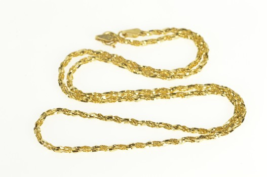 14K 1.8mm Twist Spiral Textured Rope Chain Yellow Gold Necklace 17.75""