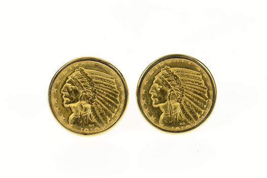 14K 1910 Indian Head Quarter Eagle $2.50 Coin Yellow Gold Cuff Links