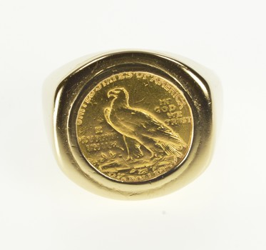 14K 1911 Indian Head Gold $2.50 Eagle Men's Yellow Gold Ring, Size 10.75