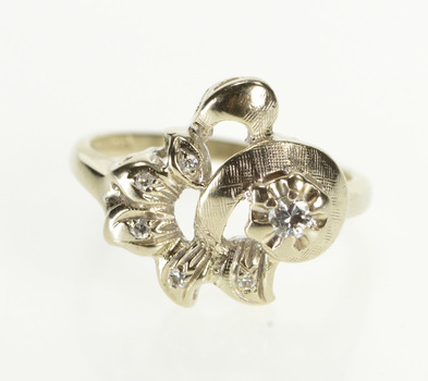 14K 1930's Diamond Inset Floral Ornate Cocktail White Gold Ring, Size 7
