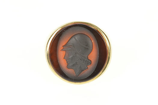 14K 1930's Men's Carved Carnelian Intaglio Cameo Yellow Gold Ring, Size 8.25