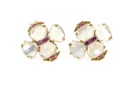 14K 1930's Moonstone Ruby Clover Screw Back Yellow Gold Earrings