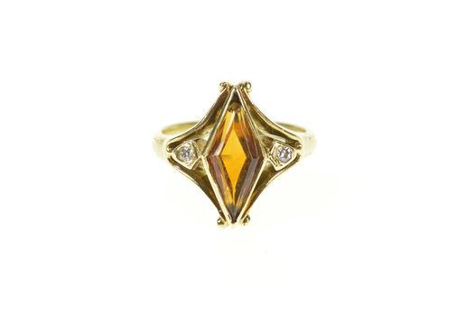 14K 1930's Ornate Sim. Citrine Diamond Unique Yellow Gold Ring, Size 5
