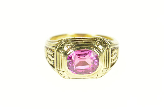 14K 1930's Syn. Pink Sapphire Ornate Men's Yellow Gold Ring, Size 9.25