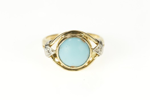 14K 1930's Turquoise Diamond Accent Statement Yellow Gold Ring, Size 2.75