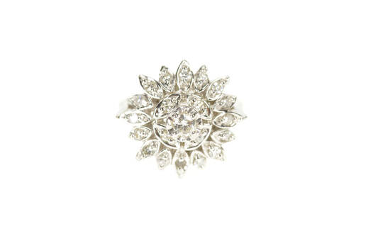 14K 1940's 0.38 Ctw Diamond Cluster Cocktail White Gold Ring, Size 5