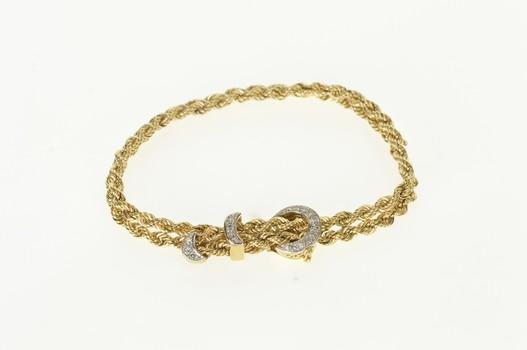 "14K 1940's Diamond Buckle Belt Chain Adjustable Yellow Gold Bracelet 7"""