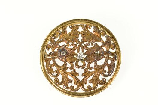14K 1940's Diamond Inset Ornate Scrollwork Round Yellow Gold Pin/Brooch