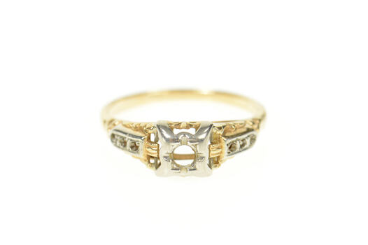 14K 1940's Ornate Two Tone Engagement Setting Yellow Gold Ring, Size 5.75