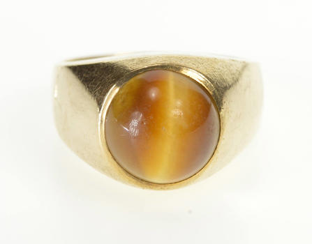14K 1940's Oval Tiger's Eye Cabochon Men's Fashion Yellow Gold Ring, Size 10