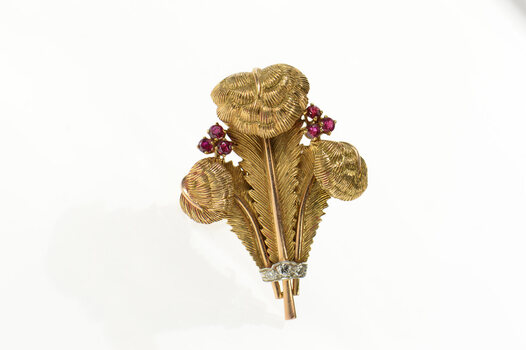 14K 1940's Ruby Diamond Feather Plume Yellow Gold Pin/Brooch