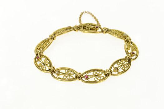 "14K 1940's Ruby Seed Pearl Oval Filigree Yellow Gold Bracelet 7.25"""