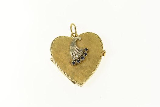 14K 1940's Sapphire Diamond Heart 4 Photo Locket Yellow Gold Pendant