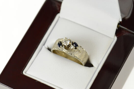 14K 1950's Diamond Sapphire Accent Engagement White Gold Ring, Size 5.75
