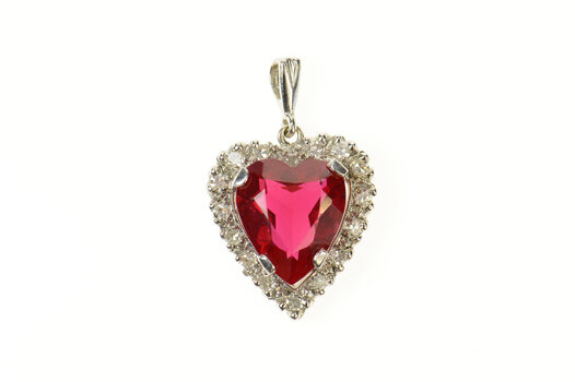 14K 1950's Heart Diamond Halo Syn. Ruby Classic White Gold Charm/Pendant
