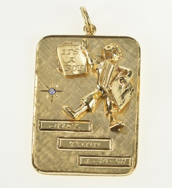 """14K 1950's """"It's a Boy!"""" Engraved Birth Record Yellow Gold Charm/Pendant"""