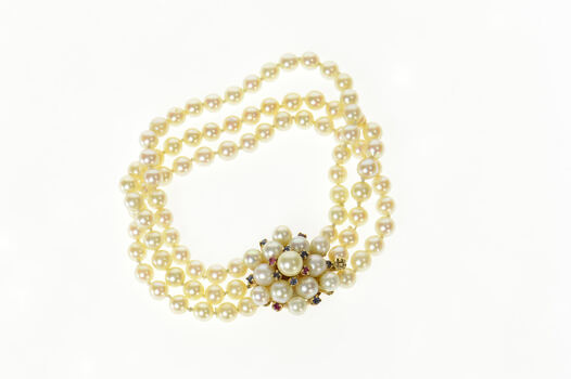 """14K 1950's Layered Pearl Flower Cluster Clasp Yellow Gold Bracelet 7"""""""