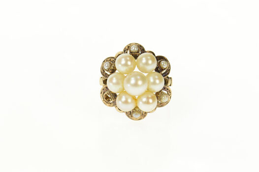 14K 1950's Ornate Pearl Cluster Cocktail Yellow Gold Ring, Size 9.75