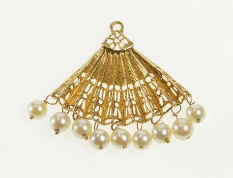 14K 1950's Pearl Bead Fringe Hand Fan Ornate Yellow Gold Charm/Pendant