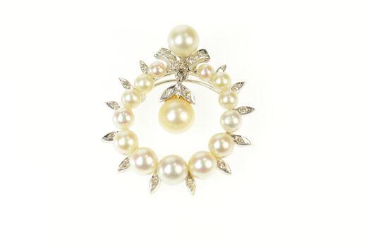 14K 1950's Pearl Diamond Dangle Round White Gold Pendant/Pin