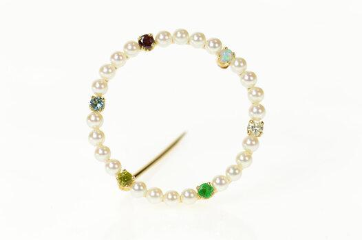 14K 1950's Pearl Diamond Emerald Opal Circle Yellow Gold Pin/Brooch
