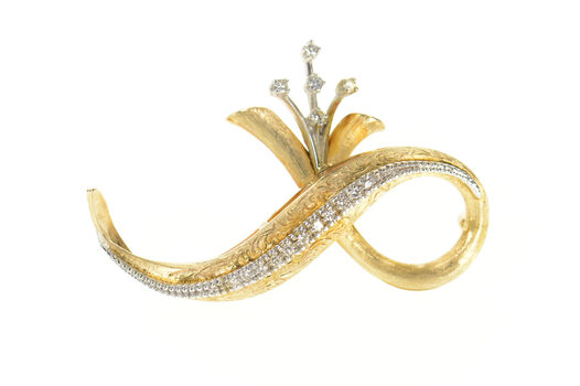 14K 1950's Retro Diamond Floral Loop Statement Yellow Gold Pin/Brooch
