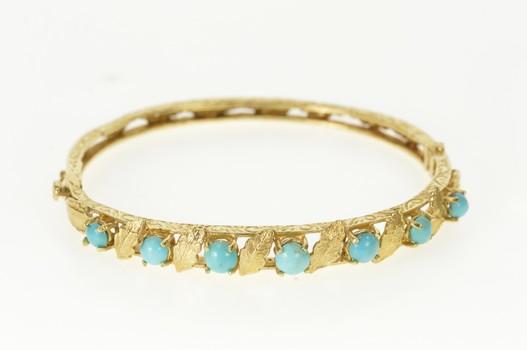 "14K 1950's Turquoise Leaf Scroll Pattern Bangle Yellow Gold Bracelet 6.75"""