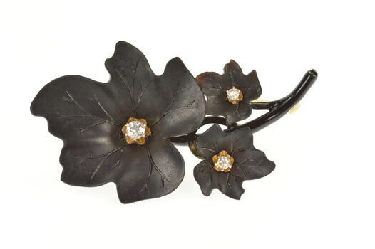 14K 1960's Black Bakelite Diamond Leaf Cluster Yellow Gold Pin/Brooch