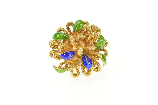 14K 1960's Blue Green Enamel Leaf Cocktail Yellow Gold Ring, Size 6.25