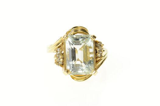 14K 1960's Blue Topaz Diamond Retro Statement Yellow Gold Ring, Size 6.5