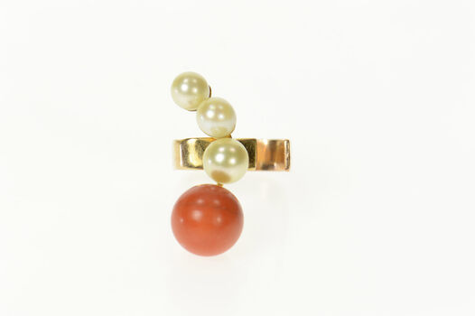 14K 1960's Coral Pearl Squared Open Band Yellow Gold Ring, Size 7.25