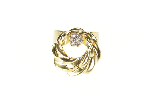 14K 1960's Diamond Cluster Spinner Cocktail Yellow Gold Ring, Size 6.5