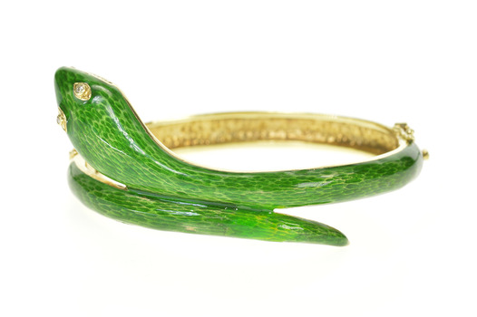 14K 1960's Diamond Eyed Green Enamel Serpent Yellow Gold Bracelet 6.75""