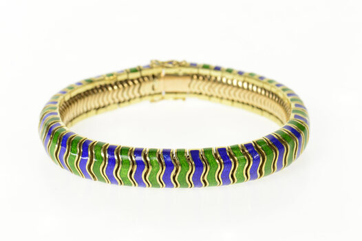 "14K 1960's Green Blue Enamel Wavy Chunk Yellow Gold Bracelet 7.5"""