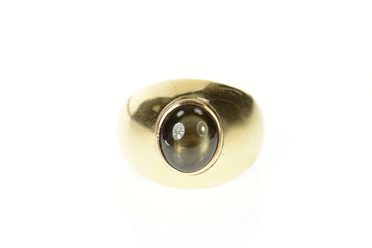 14K 1960's Men's Oval Black Star Sapphire Yellow Gold Ring, Size 10.25