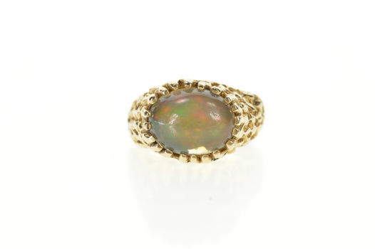 14K 1960's Opal Textured Raw Lattice Cocktail Yellow Gold RIng, Size 7