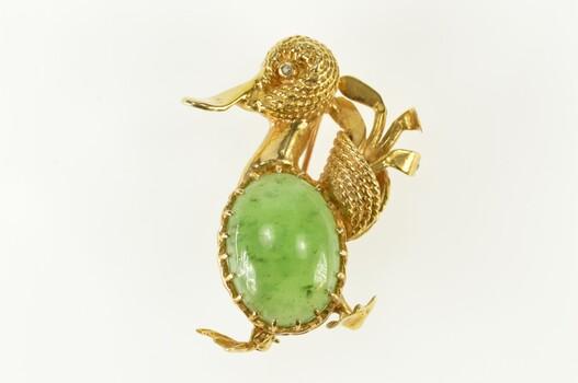 14K 1960's Ornate Jade Inset Duck Diamond Yellow Gold Pin/Brooch