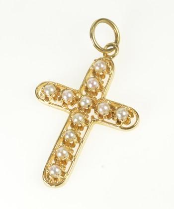 14K 1960's Ornate Retro Pearl Cross Christian Faith Yellow Gold Pendant