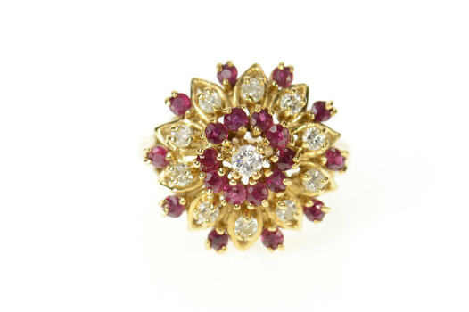 14K 1960's Ornate Ruby Diamond Halo Cocktail Yellow Gold Ring, Size 6