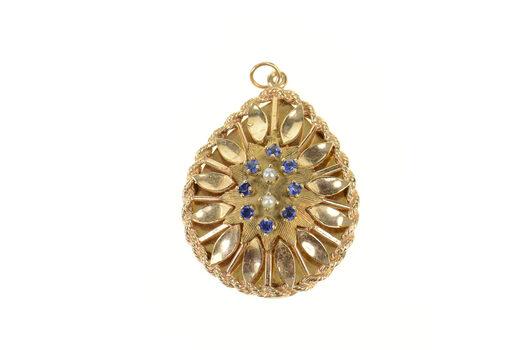 14K 1960's Ornate Syn. Sapphire Pearl Tear Drop Yellow Gold Pendant