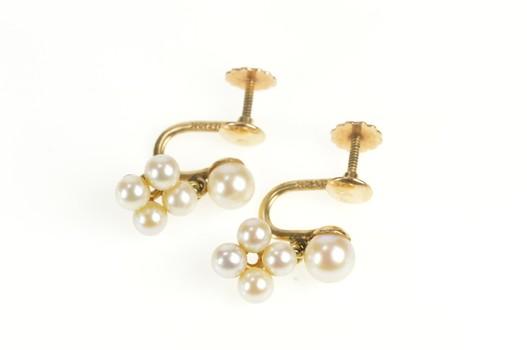 14K 1960's Pearl Cluster Dangle Screw Back Yellow Gold Earrings