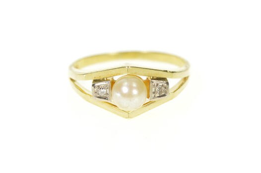 14K 1960's Pearl Diamond Accent Statement Yellow Gold Ring, Size 9