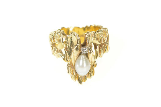14K 1960's Pearl Diamond Raw Textured Statement Yellow Gold Ring, Size 6.5