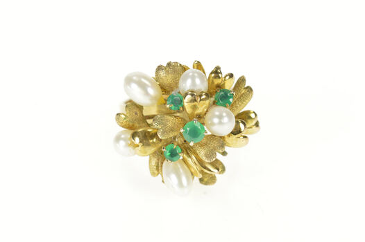 14K 1960's Pearl Emerald Leaf Cluster Cocktail Yellow Gold Ring, Size 8.5